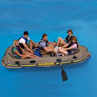 гребная надувная лодка intex 68325 excursion 5 set